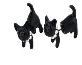 Two Sided Kitten Stud Earring