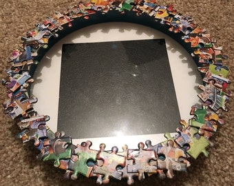 "Handmade Jigsaw Puzzle Piece Circular Photo Frame Fits 4""x4"" Photo Multi-Colour"