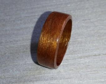 Red Ribbon Sapele Bentwood Ring