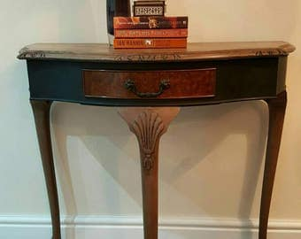 SOLD Stunning Vintage Demi Lune Hall/console table Upcycled