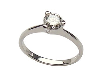 Women's white gold Solitaire ring 750-18 kt. with brilliant cut cubic zirconia solitaire ring-White gold woman