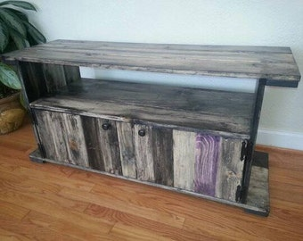 Rustic distressed tv stand unit