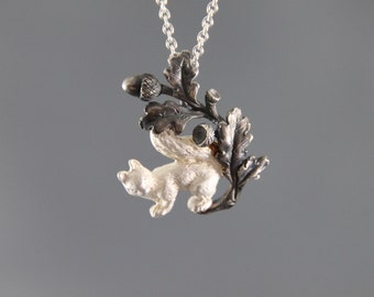 trailer squirrel with oak leaves, sterling silver, jewelry hunting, animals, squirrel, four and a half
