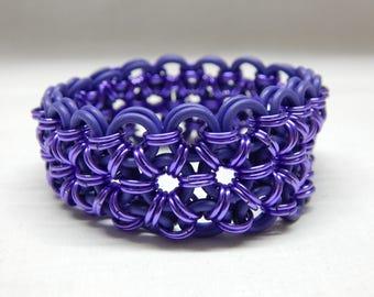 Purple on Purple Anodized Aluminum + EPDM Chain Mail Bracelet Handmade