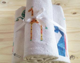 Animal Print Children's Bath Towels - Set of 3