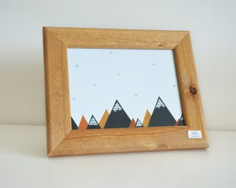 Mountain Collage Framed Print - Natural Wood