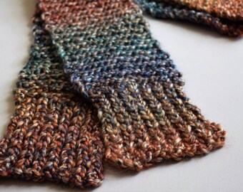 Multicolored Chunky Knit Scarf (Desert Painting)