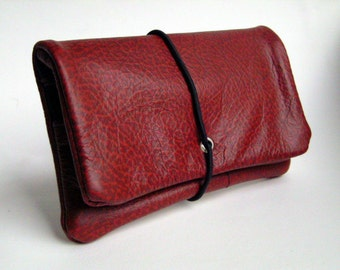 Tobacco pouch leather Rotgenarbt