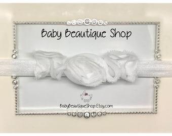 White Lace Baby Headband, Baby Christening Bow, Baby Baptism Bow, Lace Flower Bow, Newborn Baptism Bow, Lace Baby Hair Bow, Wedding Baby Bow