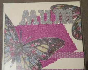 Mothersday card , mum card , butterfly Mothersday card , butterfly card , Mothersday greets