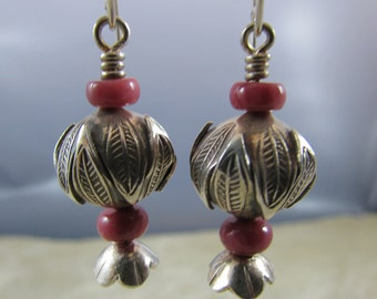 Handmade sterling silver and rhodocrosite earrings.