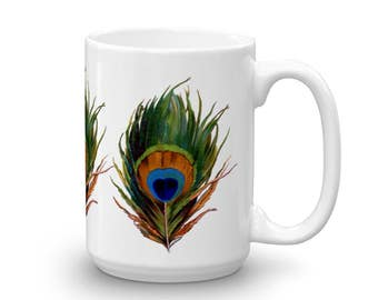 Beautiful Phoenix Feather 11 or 15 oz Sturdy Ceramic Mug by Mermaids and Unicorn …