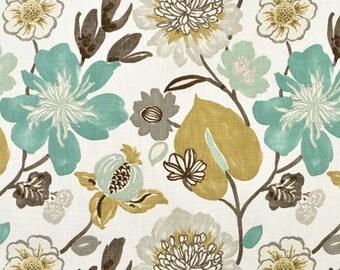 Teal/Gray Floral Fabric- curtains, throw pillows, roman shades