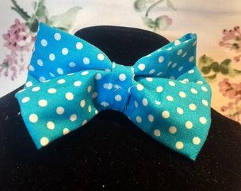 Handmade Blue Pokadot hairbow