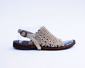 100% Linen natural Macrium Slingbacks | Summer Sandal | Natural Linen Sandals | Macrame Shoes Design
