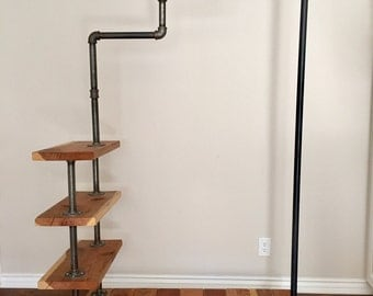 Industrial Rustic Red Wood Staircase Garment Rack. Customizable.