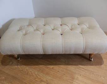 Beautiful Handcrafted Footstool. Light Oatmeal With Hand Made Buttons In A Variety Of Colours