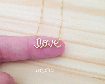 Love Necklace in Gold, Tiny love Pendant Necklace