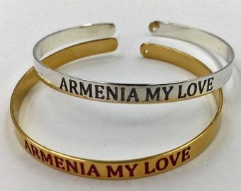 "Gold or silver ""ARMENIA MY LOVE"" bracelet"