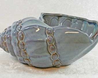 Vintage Art Pottery Large Blue Conch Sea Shell Bowl Planter - Centerpiece Dining Room Decor