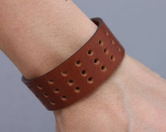 Leather Bracelets Hole Punched Honey Brown Cuff Men Women