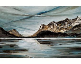 picture winter snow clouds sky skyline mountains Plan Lake oil painting landscape oil painting on canvas piece 30 x 60