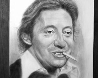 Portrait Serge Gainsbourg, oil painting