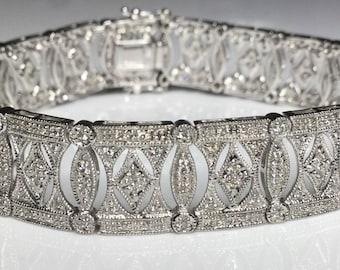 "Estate 14K White Gold 3.00 CTW Diamond 7.25"" Tennis Bracelet 20.5 Grams"