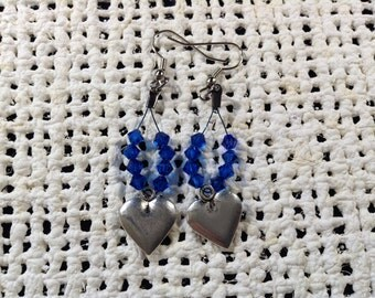 Blue crystal heart earrings