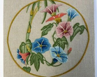 Vintage Floral Crewel, Vintage Crewelwork,  Embroidered Wall Decor, Vintage Tapestry, Crewel Wall Decor, Crewel Work Wall Decor -V148