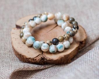pearl, jasper. double bracelet