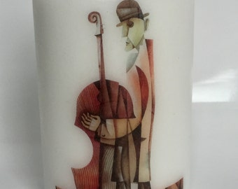Hand decorated candle - In music
