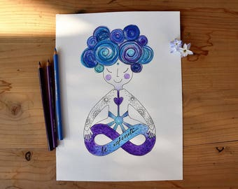 Yoga illustration painted by hand, Be endless, decorating yoga and meditation