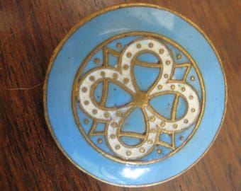 antique enamel button 23 mm Blue