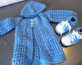 Jacket, bonnet and booties type basketball baby blue wool