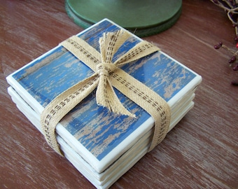 Handmade wood grain pattern tile coasters