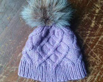 Cabled baby hat / hand knit baby hat / knitted baby beanie / pompom hat / baby girl hat