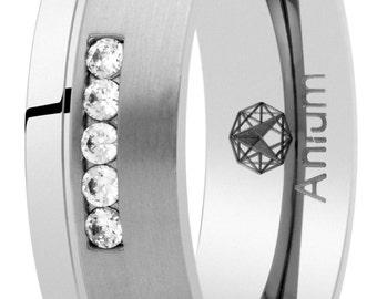 wedding brillo-mate made of pure titanium with stones ring