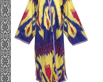beautiful uzbek hand loomed cotton ikat robe chapan jacket B46