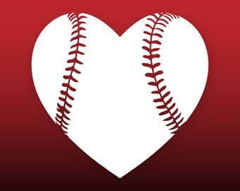 Baseball heart svg Baseball love svg Baseball svg files Baseball cut file for cricut Baseball vinyl decal Baseball vector Baseball clipart