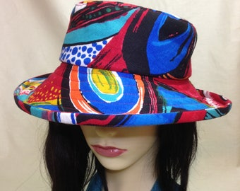 Wide Brimmed Linen Summer Hat , Jazz abstract design