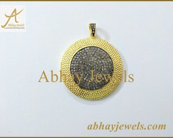 Silver Pave Diamond Disc 45MM PENDENT