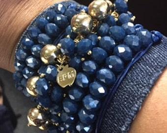 Denim & Crystals bracelet