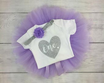 1st Birthday Outfit Girl One Tutu Outfit Cake Smash Shirt Purple and Silver Glitter Onesie Bodysuit Headband Photo Prop Lavender