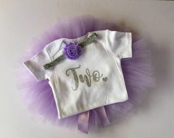 2nd Birthday Outfit Girl Two Tutu Outfit Cake Smash Shirt Purple and Silver Glitter Onesie Bodysuit Headband Photo Prop Lavender