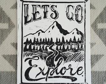Let's Go Explore Block Print