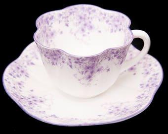 Rare Mauve Shelley - Purple and white teacup and saucer