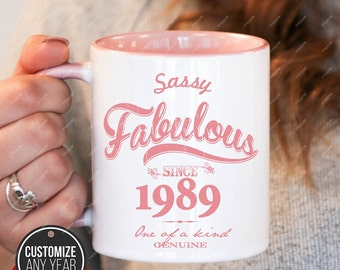 Sassy Fabulous since 1989, 29th birthday 29th birthday gifts for women, 1989 birthday gift, 29th birthday mug for mens, 29th