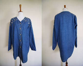 Vintage 1990's Bedazzled Denim Shirt / 90's Rhinestone and studded Chambray Button Down