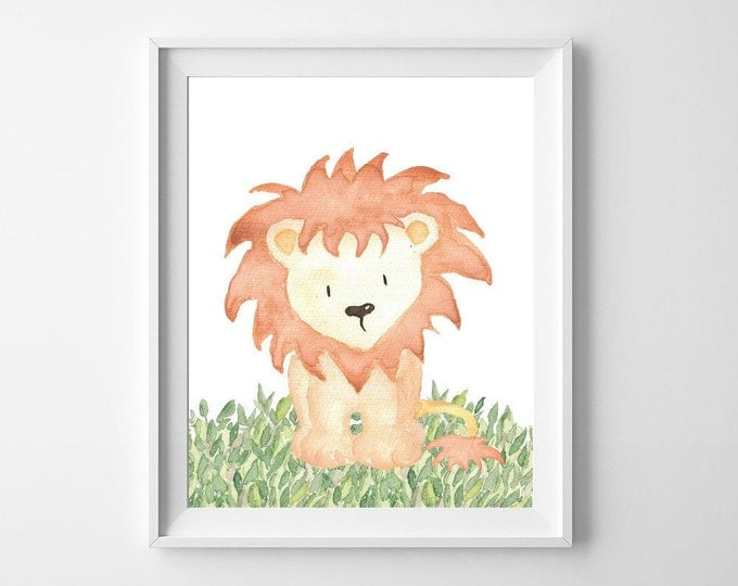 Nursery Decor, Nursery Wall Art, Woodland Nursery, Baby Shower Gift, Nursery Art, Woodland Animals, Instant Download, Wall Art, Lion